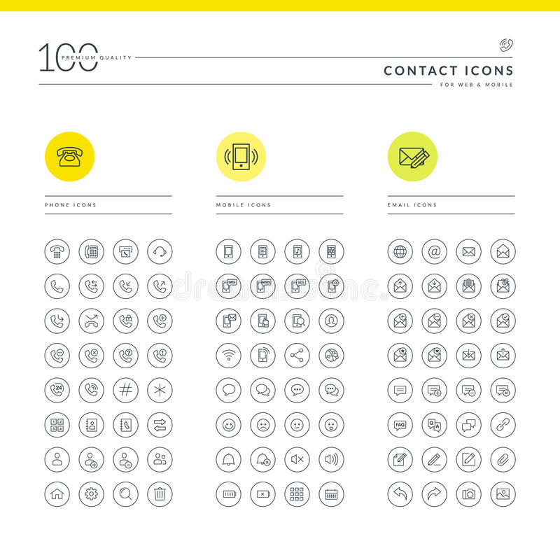 Set of contact icons. For web and mobile. Icons for telephone, mobile phone and email