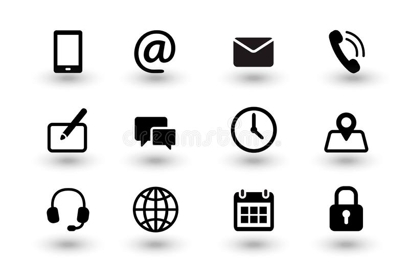 Set of contact us and web communacation icons. Simple flat black vector icons collection isolated on white background. With shadows. Vector eps10 royalty free illustration