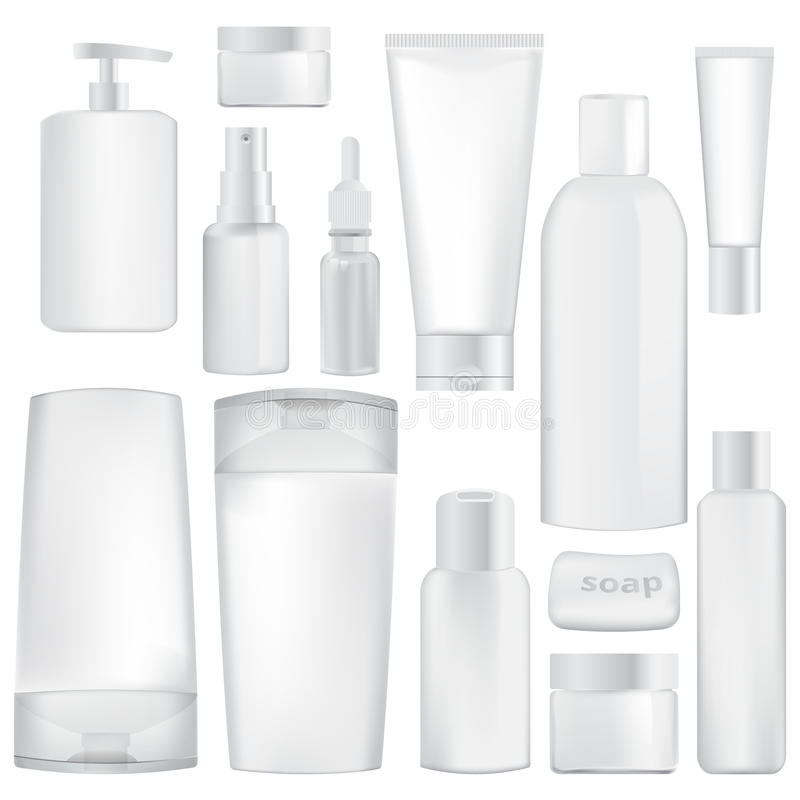 Set of containers for cosmetics. Vector illustration, isolated on white background vector illustration