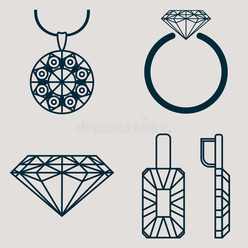 Set contains four icons for jewelry goods ring, earrings, necklace and classic diamond stock illustration