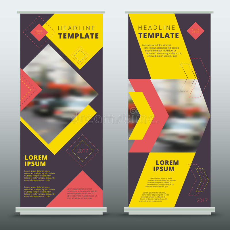 Set of contemporary abstract business roll up banner design. Mod. Ern vector geometric corporate flag-banner presentation template stock illustration