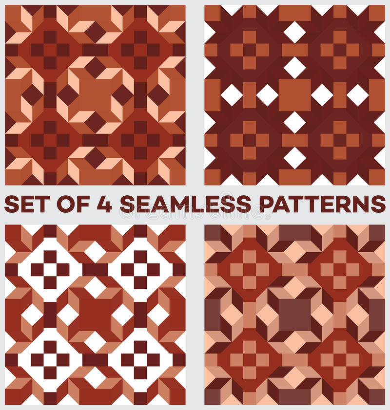 Set of 4 contemporary geometric seamless patterns with rhombus, triangles and squares of brown, beige and white shades stock illustration