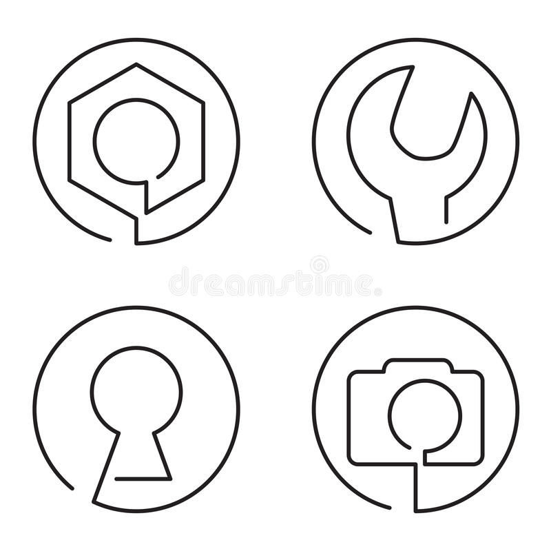 Set of continuous line logo stock illustration