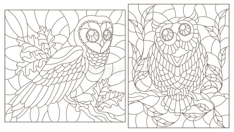 Contour set with illustrations with owls, dark contours on white background. Set of contour illustrations with owls, dark contours on white background royalty free illustration