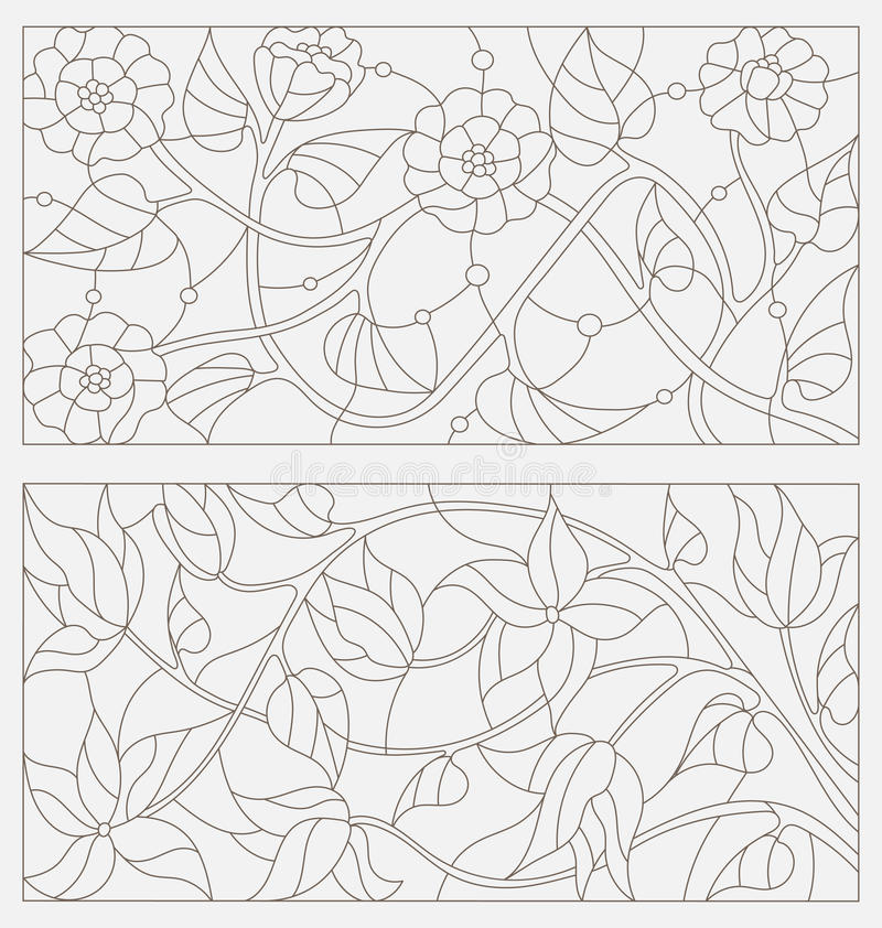 Set contour illustrations of stained glass with abstract flowers stock illustration