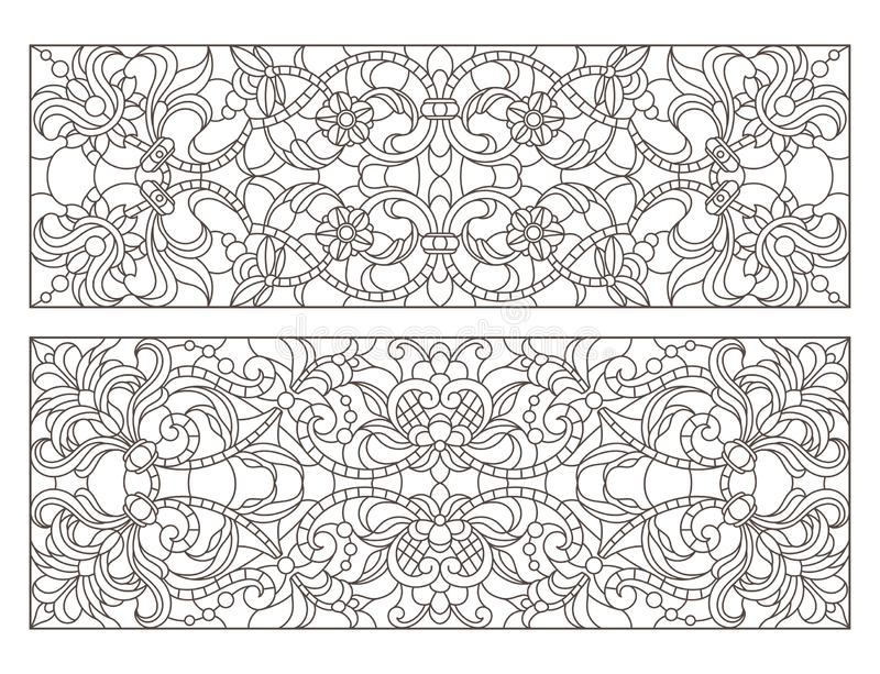Contour set with  illustrations of stained glass with abstract swirls and flowers , horizontal orientation stock illustration