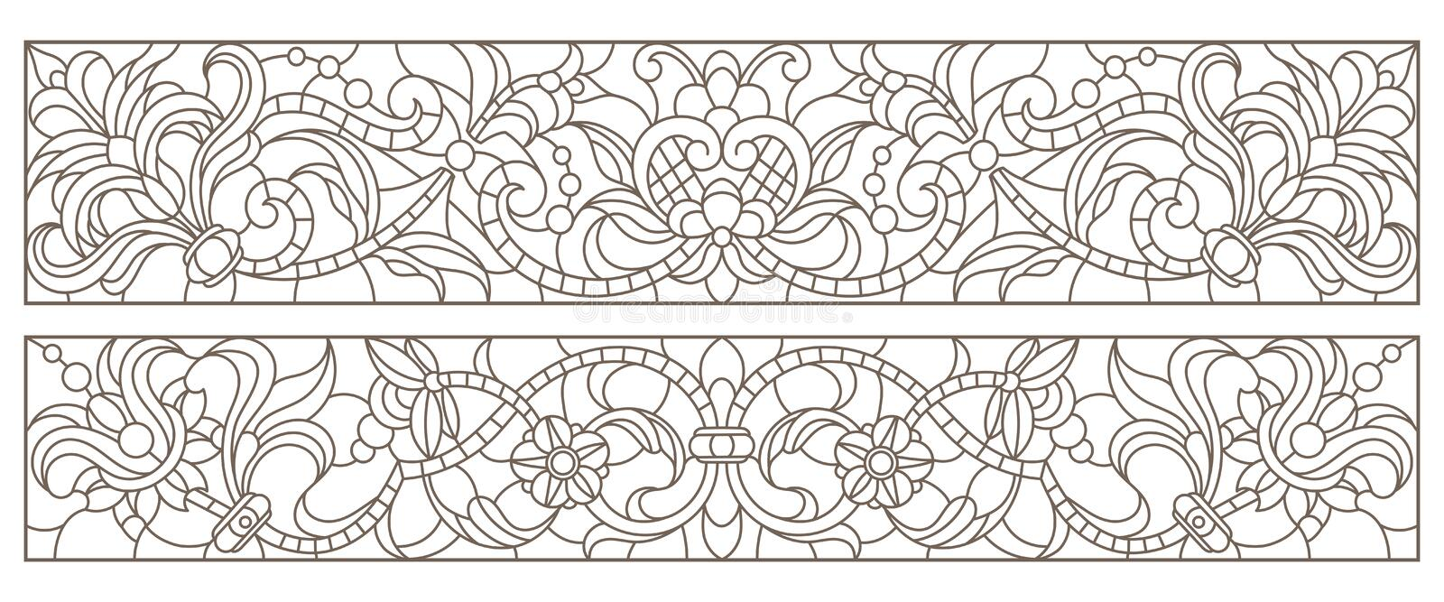 Contour set with   illustrations of stained glass with abstract swirls and flowers , horizontal orientation royalty free illustration