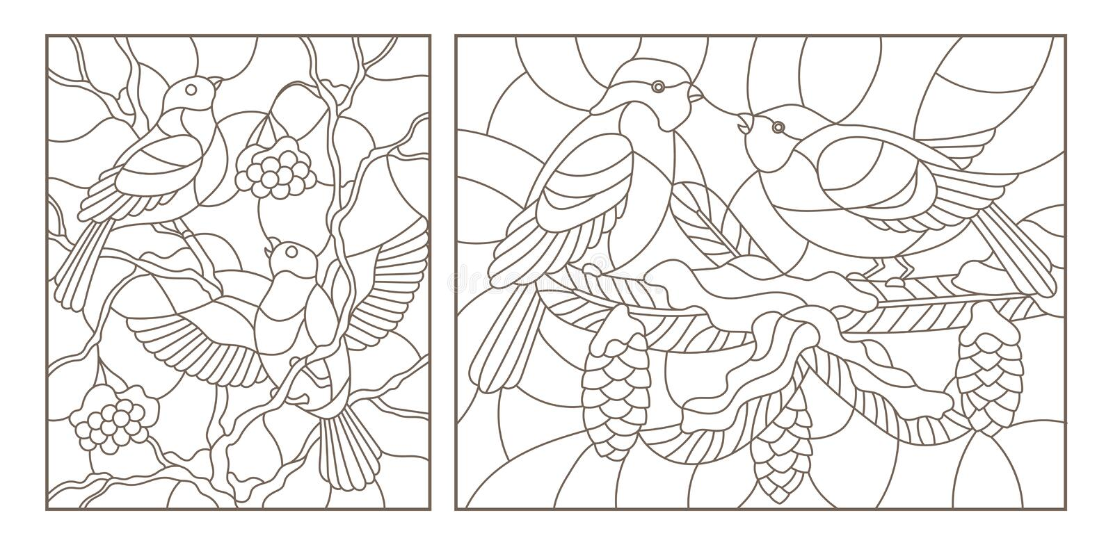 Contour set with illustrations of stained glass with birds on the branches of snow-covered trees , dark outlines on a white backg. Set contour illustrations of royalty free illustration