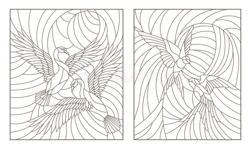 Contour set with illustrations of stained glass birds, pair of swans and a pair of swallows in sky on background sun royalty free illustration