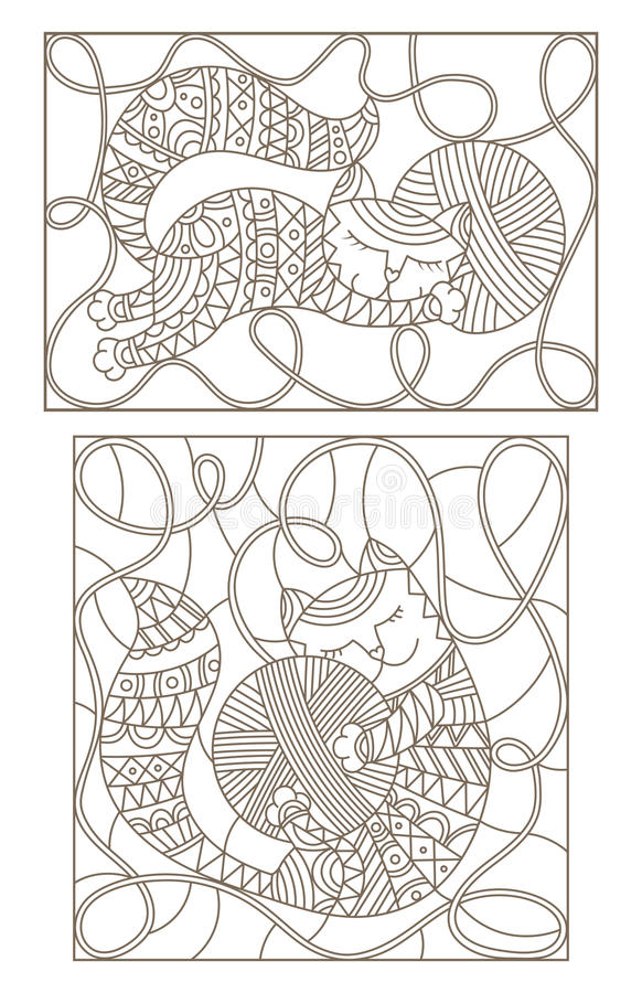 Set with contour illustrations of stained glass with cute cats hugging skeins of thread. Set contour illustrations of stained glass with cute cats hugging skeins royalty free illustration
