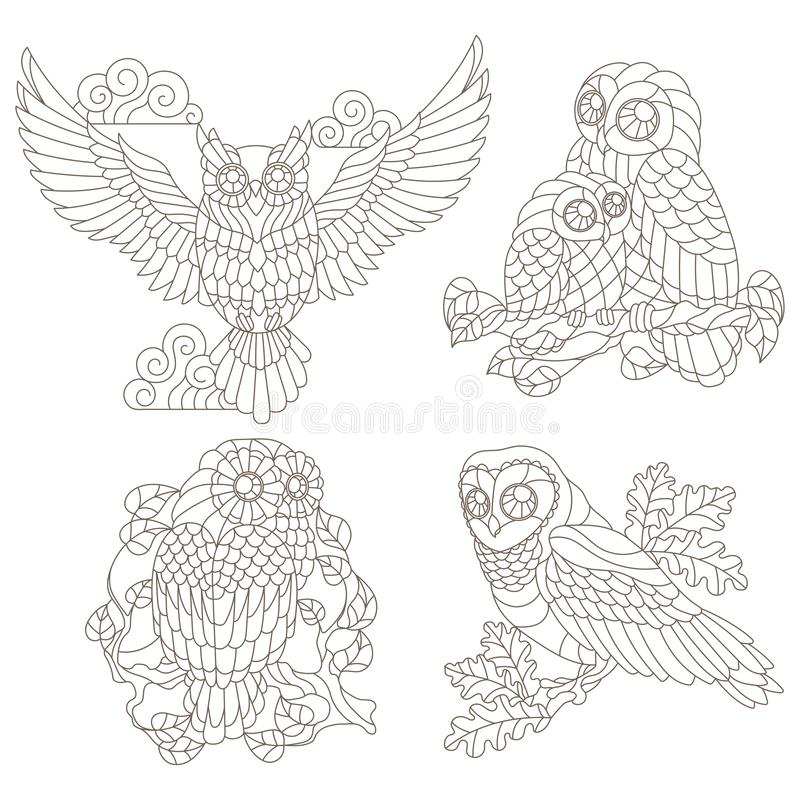 Contour set with illustrations of stained glass elements with owls sitting on tree branches, dark contours on a white background vector illustration