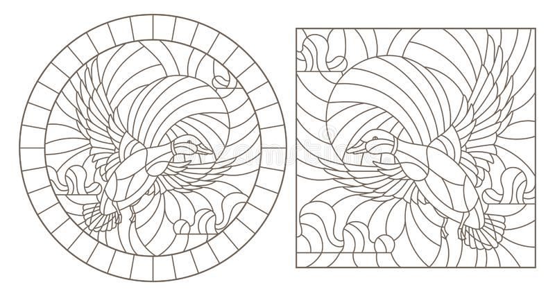 Contour set with illustrations of stained glass flying ducks against the sky, dark contours on a white background stock illustration