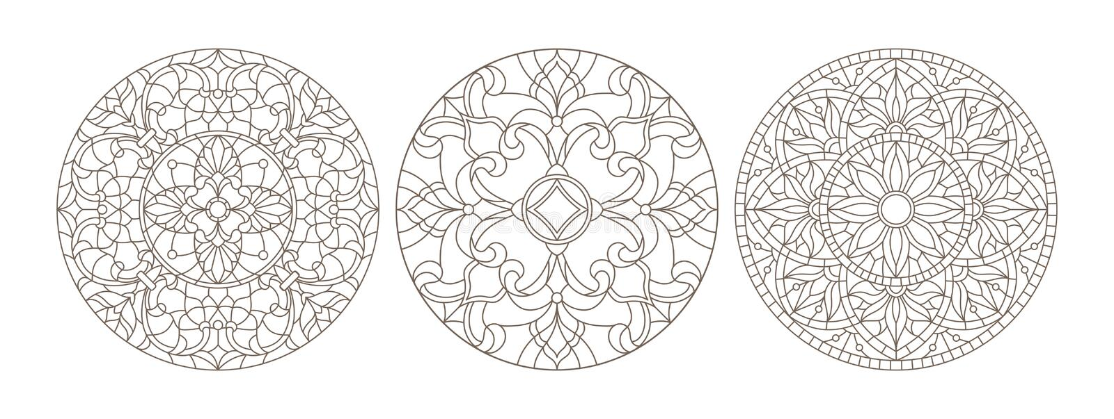 Contour set with illustrations of stained glass, round stained glass floral, dark outline on a white background royalty free illustration