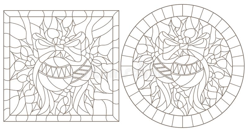Contour set with illustrations in stained glass style for the New year and Christmas, Christmas decorations, Holly branches and r vector illustration