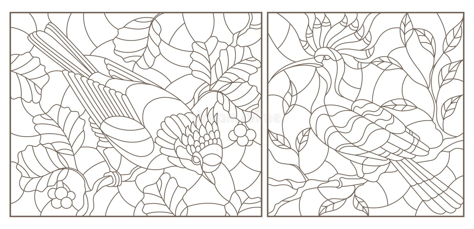 Contour set with illustrations of stained-glass windows with birds against branches of a tree and leaves , dark contours on a wh vector illustration
