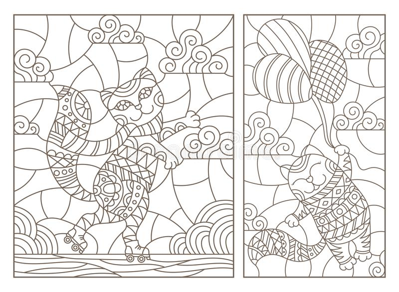 Contour set with illustrations of stained glass Windows with cartoon funny cats, a cat flying on a balloon and a cat on roller sk vector illustration