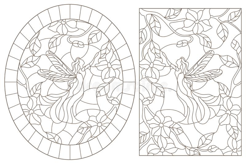 Contour set with  illustrations of stained glass Windows with fairies on a background of colors , dark contours on a white backgro royalty free illustration