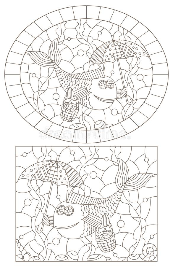 Contour set with   illustrations of stained glass Windows with funny fishes  , dark contours on a white background vector illustration