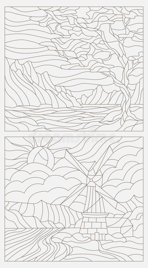 Set contour illustrations of the stained glass Windows with landscapes royalty free illustration