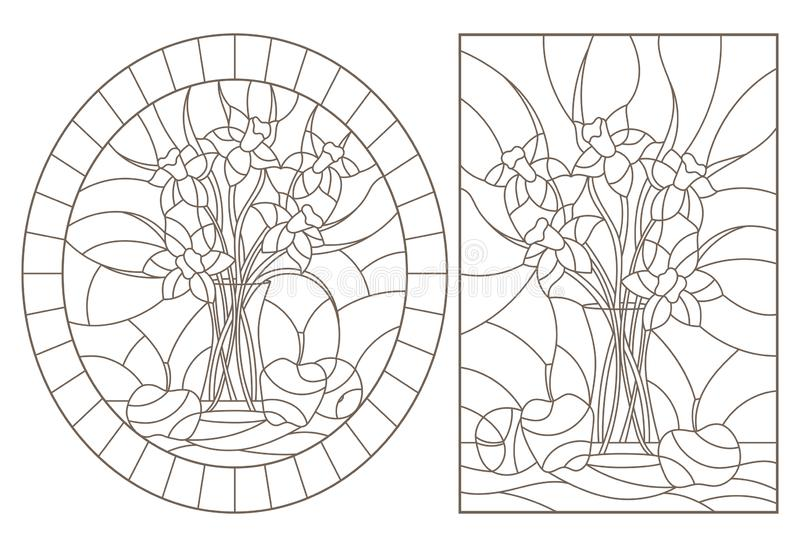 Contour set with  illustrations of stained glass Windows with still lifes, bouquets of daffodils and fruits, dark contours on a wh royalty free illustration