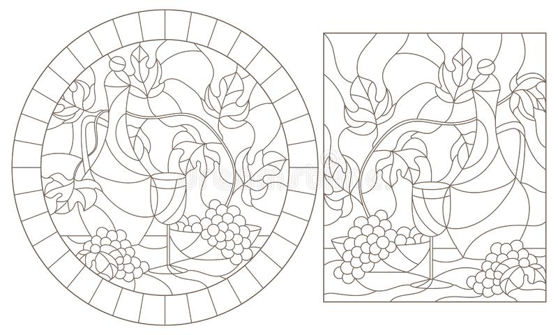 Contour set with  illustrations of stained glass Windows with still lifes,jug and fruit, dark contours on a white background vector illustration