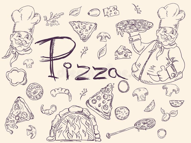 Set of contour illustrations, on the theme of Italian pizza cuisine, for decoration and design in the style of Doodle vector illustration