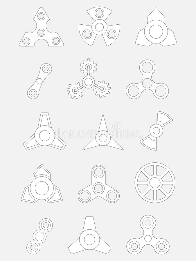Set of contour spinners on a gray background stock illustration