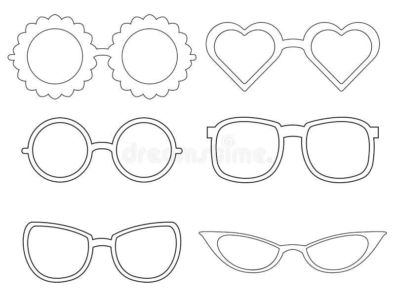 Set of contours of sunglass. Fashion elements. stock illustration