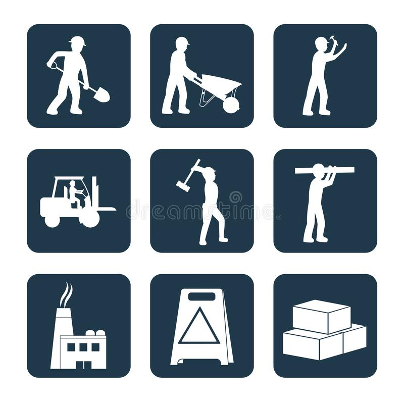 Set of contruction icons. Set of contruction square icons vector illustration graphic design vector illustration