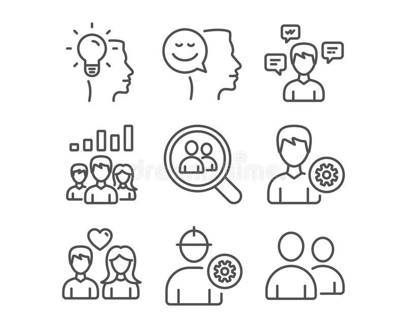 Conversation messages, Engineer and Couple love icons. Idea, Teamwork results and Search employees signs. Set of Conversation messages, Engineer and Couple love vector illustration