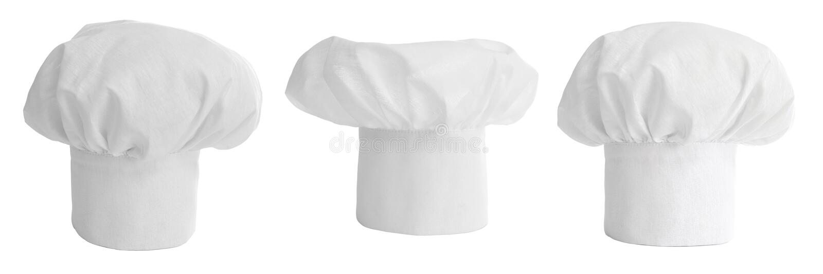 Set of cook hat or cap isolated royalty free stock photo