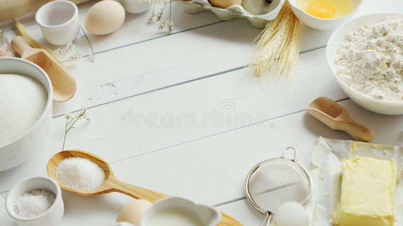 Set of cooking ingredients and tools stock images