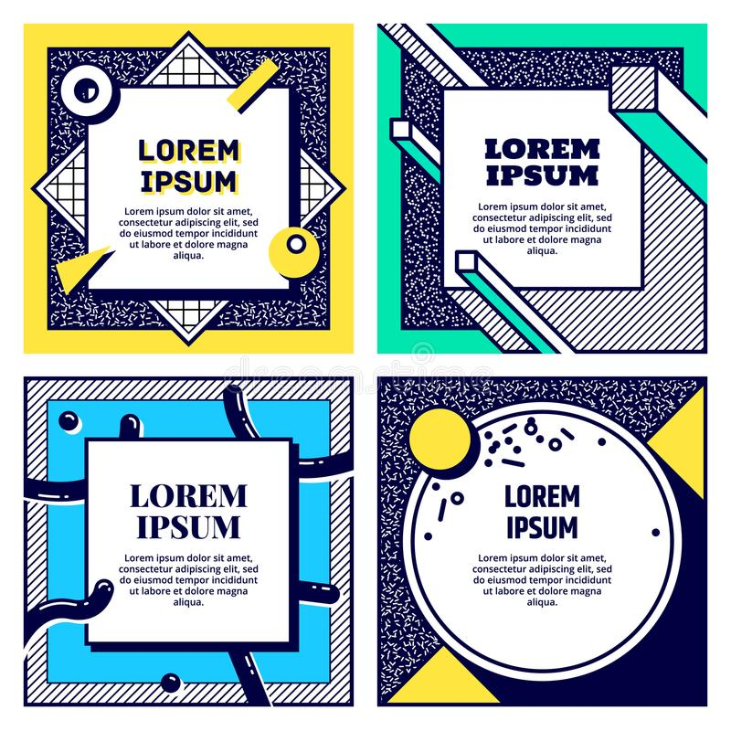 Set of cool memphis style cards. Collection of geometric flyers. Vector. Set of cool memphis style cards. Collection of geometric flyers. Retro templates for vector illustration