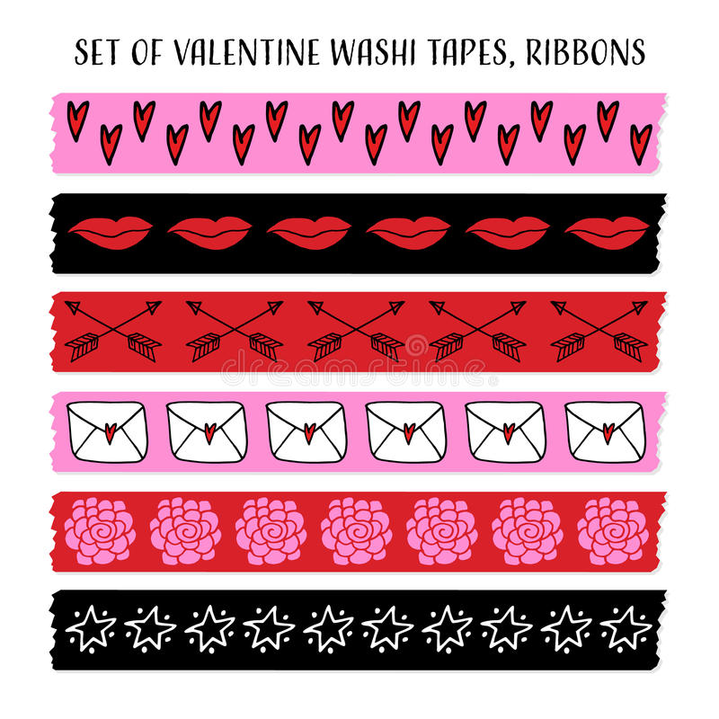 Set of cool Valentine washi tapes, ribbons with doodle patterns. vector objects. Funny design. royalty free illustration