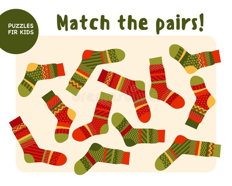 Set of cool warm striped socks. Kid mind game vector illustration