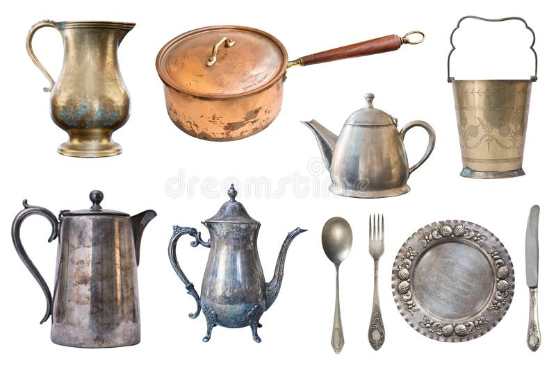 Set of copper and metal vintage cookware isolated on white background stock photo