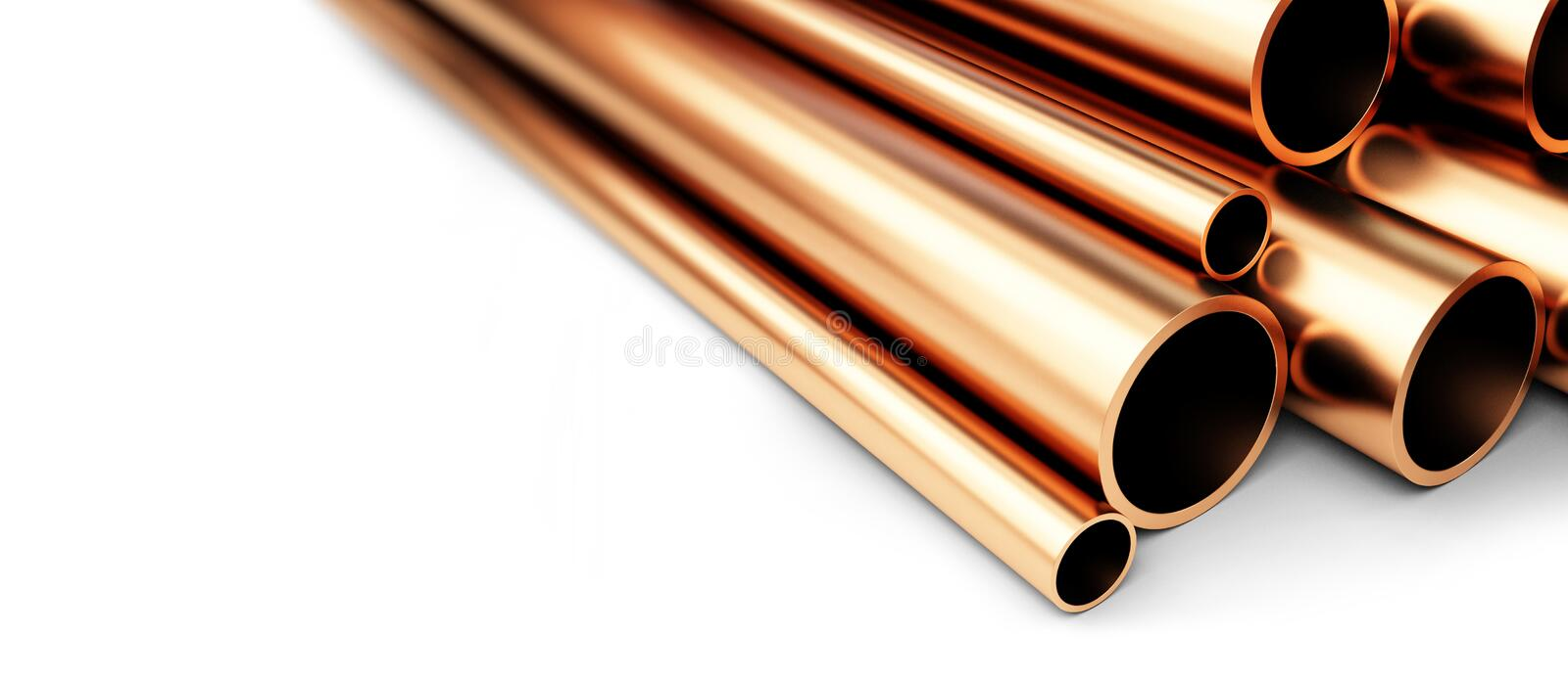 Set of copper pipes of different diameter . Isolated on White Background. stock illustration