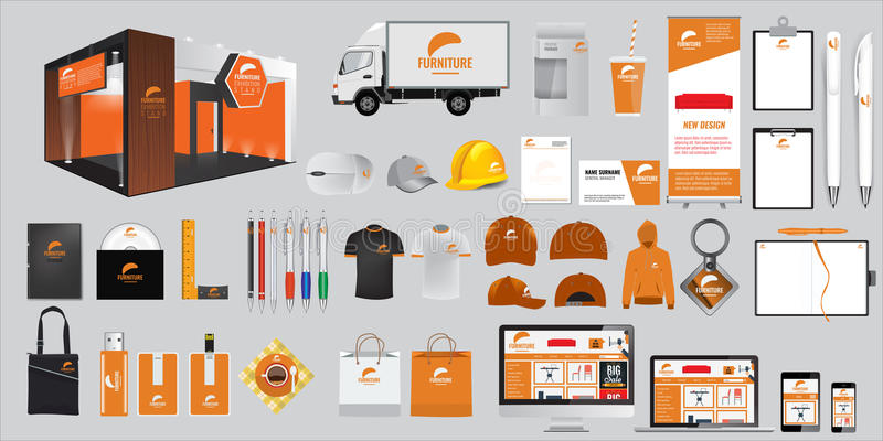 Set of Corporate identity and stationery elements. Vector promotional objects stock illustration