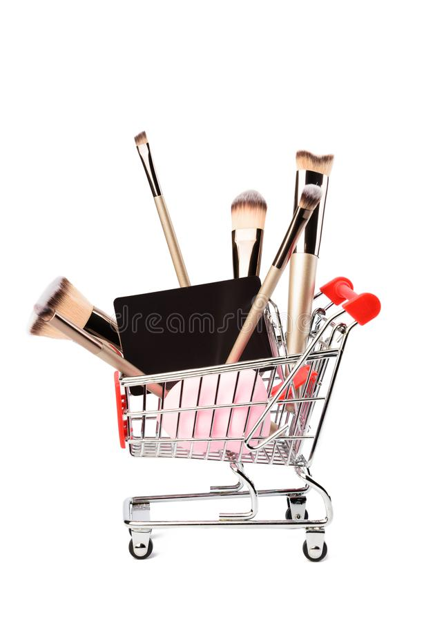 Makeup brushes isolated on white background. royalty free stock photos