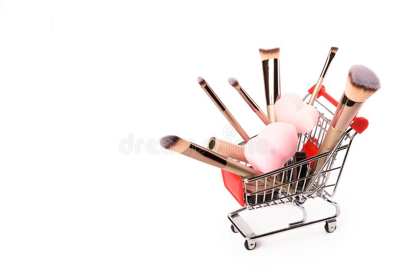 Makeup brushes isolated on white background. stock image