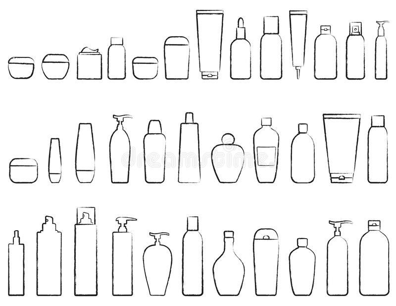 Set of cosmetic bottle silhouette. Hand drawing set of cosmetic bottle silhouette on white background royalty free illustration