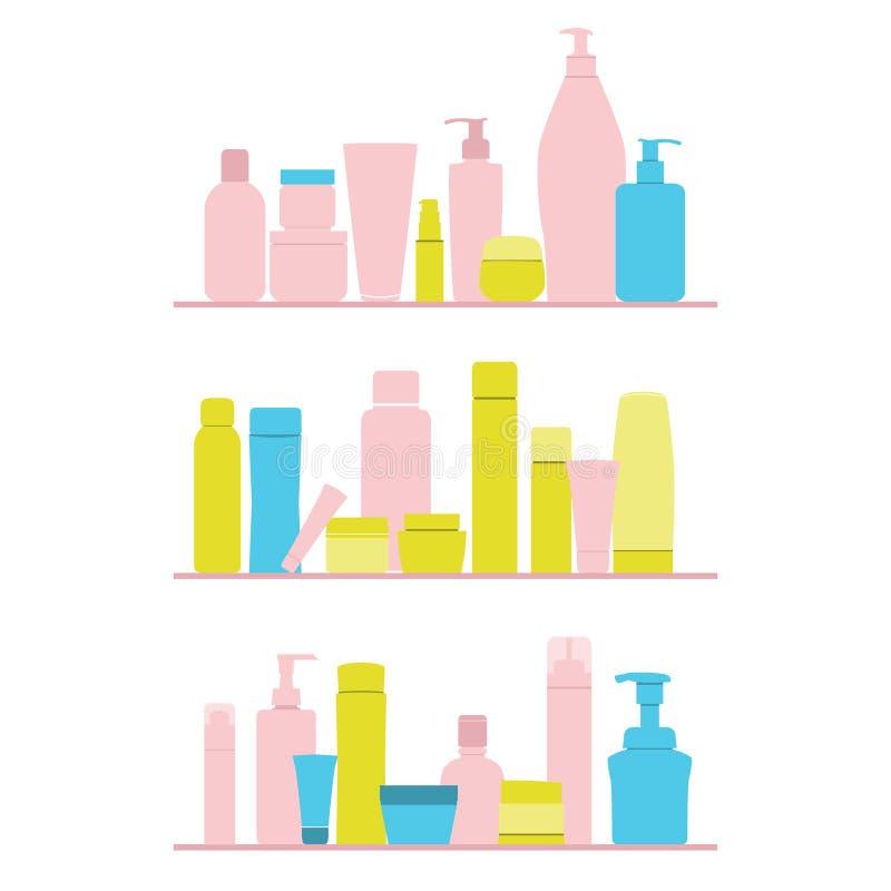 Set of cosmetic bottles on shelf. Vector royalty free illustration