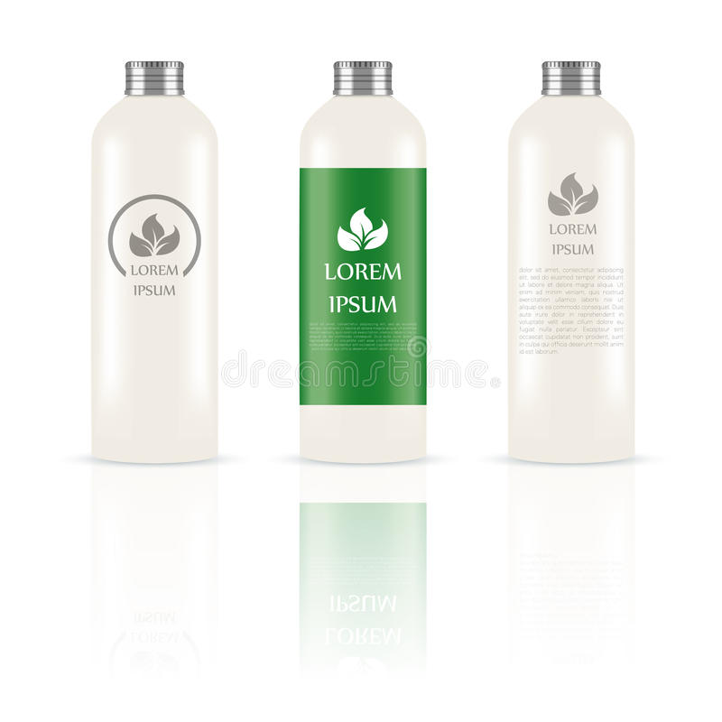 Set of cosmetic bottles. Vector image of the set of white cosmetic bottles royalty free illustration