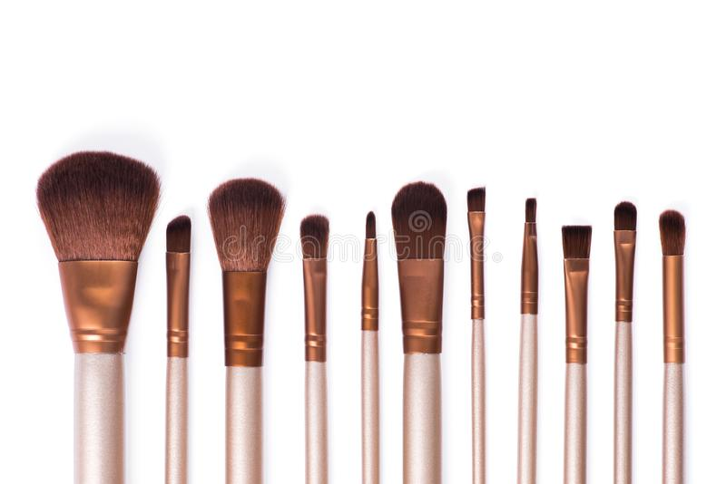 Set cosmetic brush for beauty makeup. Isolated on white background royalty free stock photos