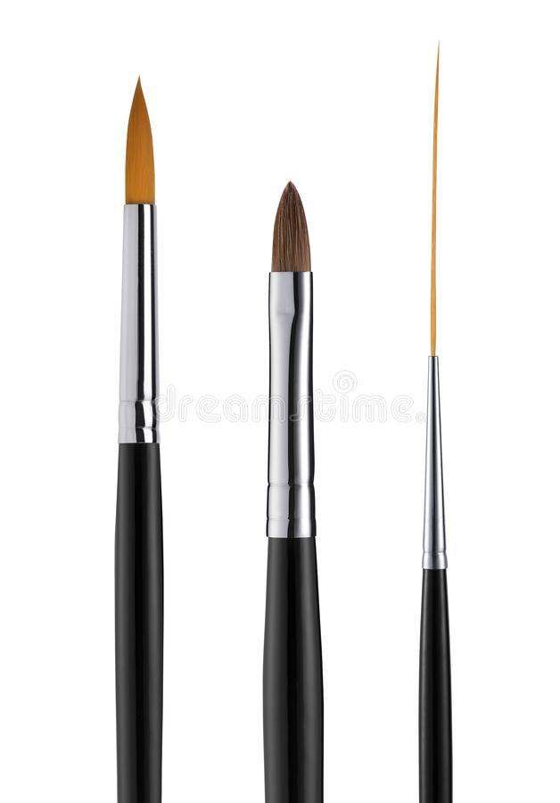 Set of cosmetic brushes on white background, close up royalty free stock image