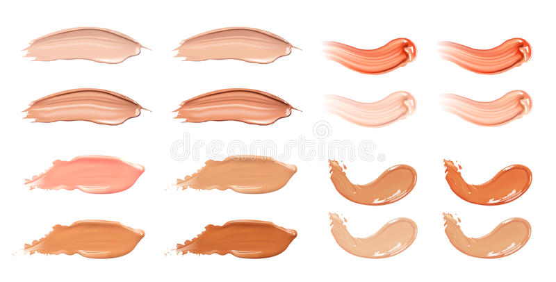 Set of cosmetic liquid foundation or caramel cream in different colour smudge smear strokes. Make up smears isolated on. Cosmetic liquid foundation or caramel vector illustration