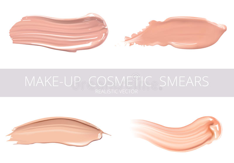 Set of cosmetic liquid foundation or caramel cream in different colour smudge smear strokes. Make up smears isolated on. White background royalty free illustration