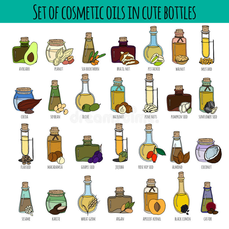 Set of cosmetic oils vector illustration