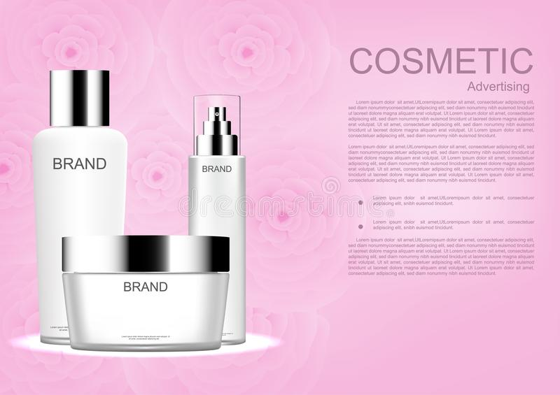 Set of cosmetic product with pink camellia on pink background vector cosmetic ads royalty free illustration