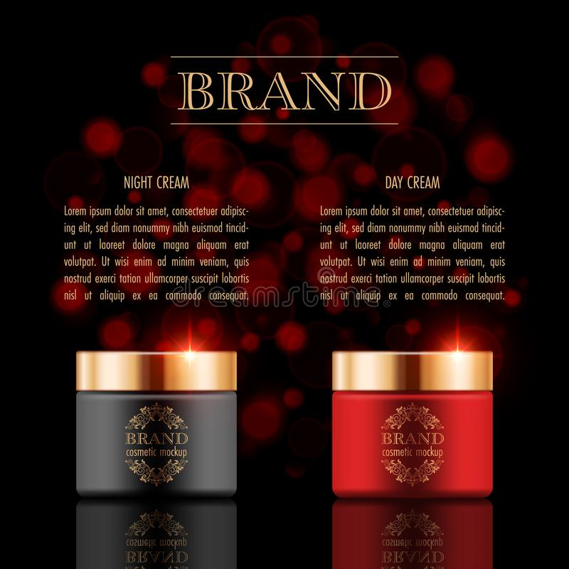 Cosmetic products poster. Set of cosmetic products on black background. Packaging template. Vector illustration vector illustration